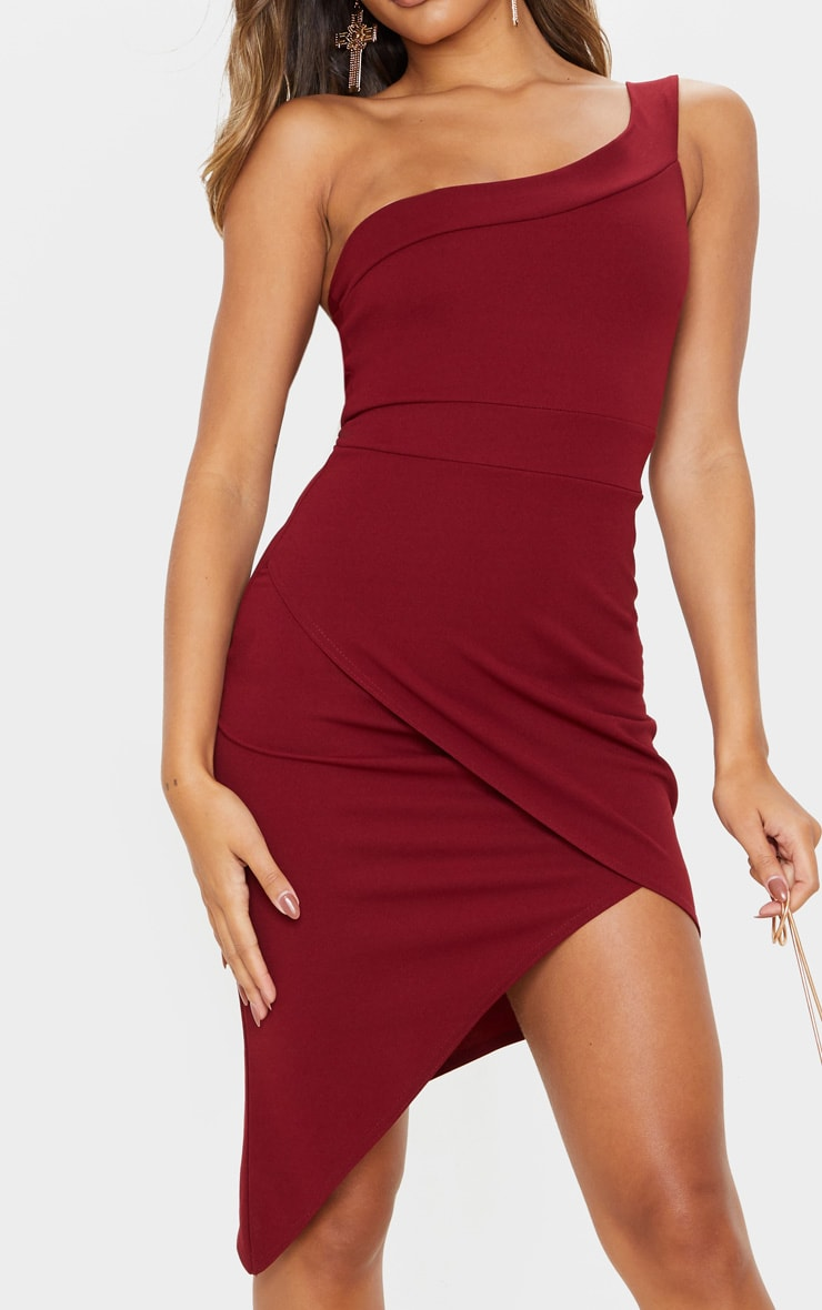 Burgundy One Shoulder Wrap Skirt Midi Dress 4