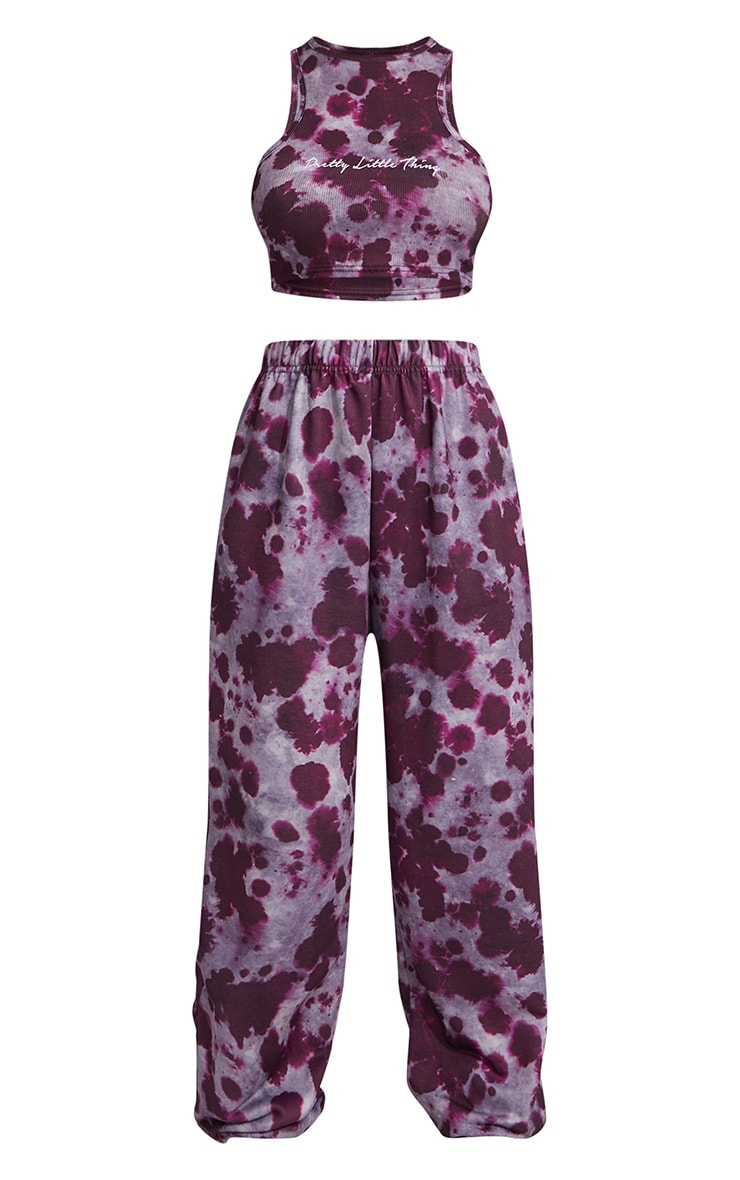 PRETTYLITTLETHING Violet Tie Dye Print Rib Racer Neck Cropped Vest & Jogger Set 5