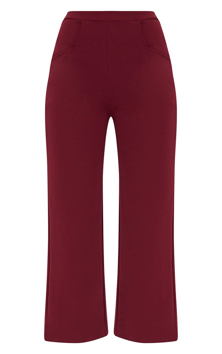 Deep Berry Cropped Wideleg Trousers 3