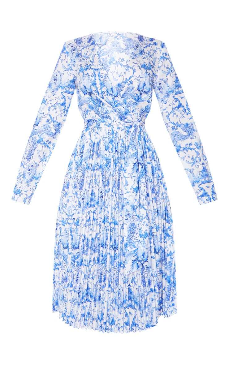 Blue Porcelain Print Long Sleeve Pleated Midi Dress 5