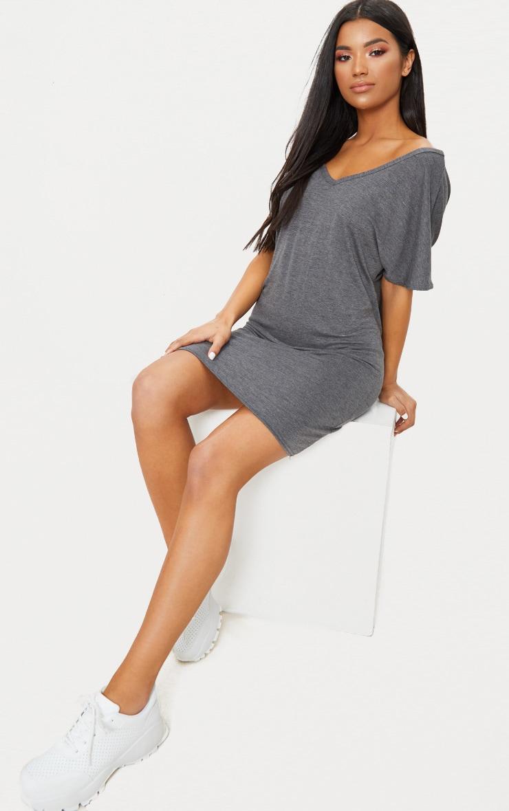 Charcoal V Neck T Shirt Dress 4
