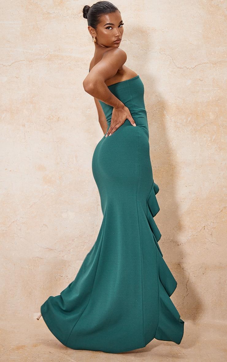 Emerald Green One Shoulder Ruffle Hem Maxi Dress 2