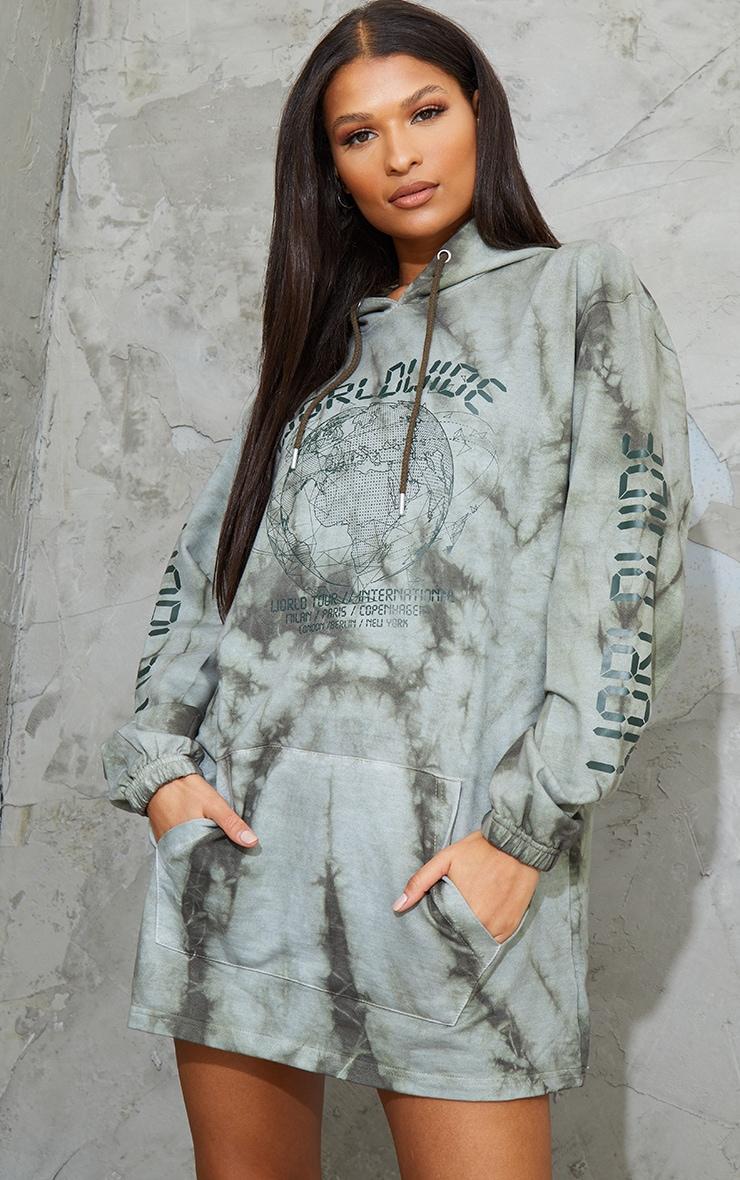 Khaki Worldwide Slogan Oversized Tie Dye Hoodie Sweat Sweater Dress 1
