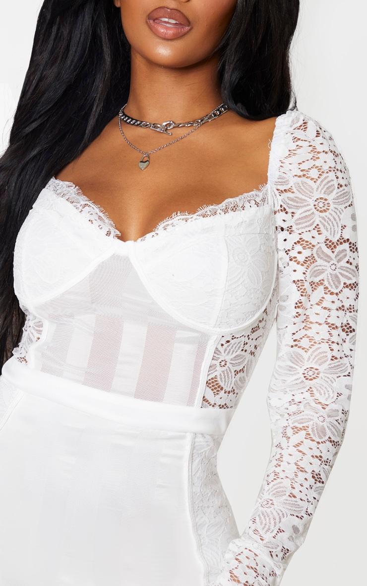 Shape White Lace Mesh Stripe Long Sleeve Bodycon Dress 5