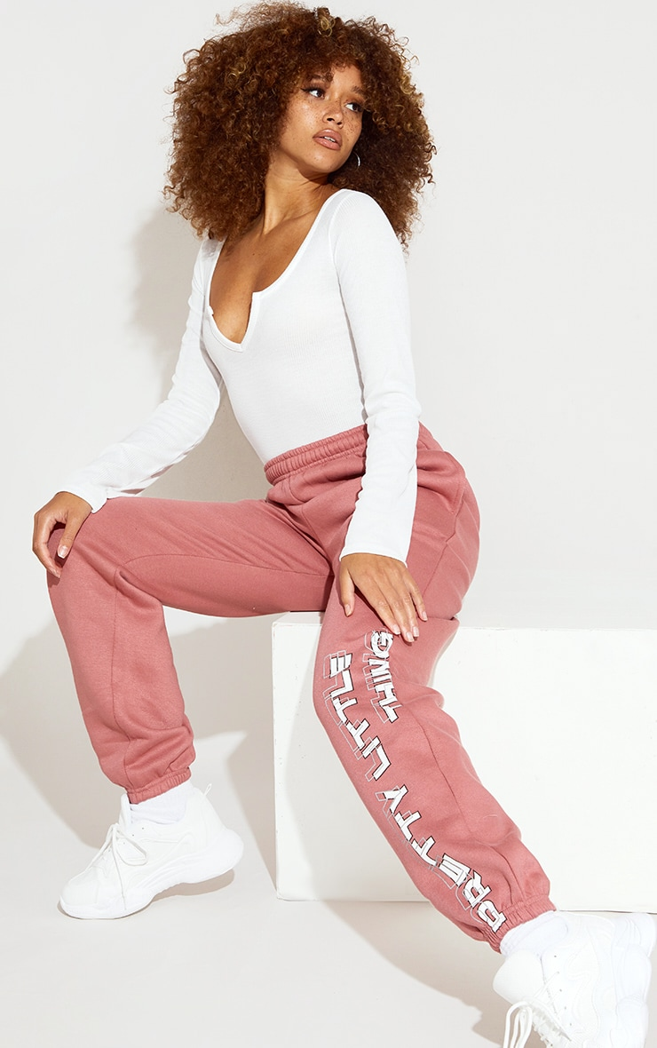 PRETTYLITTLETHING Dusty Pink Washed Jogger 1