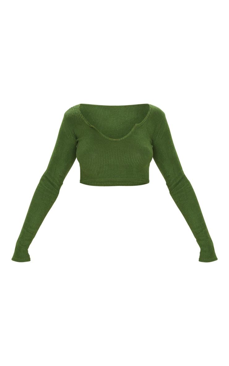 Olive Khaki Brushed Rib V Detail Crop Top 4