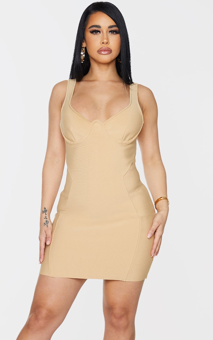 Shape Champagne Bandage Cup Detail Panelled Bodycon Dress 1