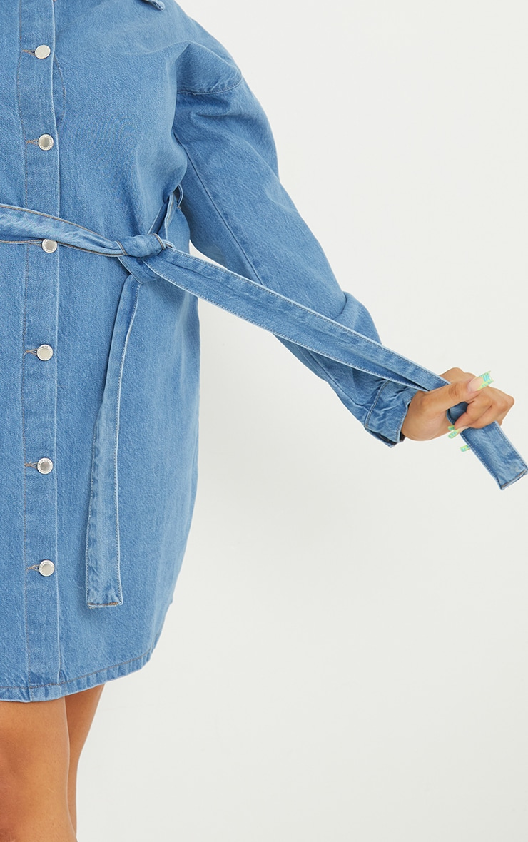 Plus Mid Wash Denim Long Sleeve Button Up Bodycon Dress 4