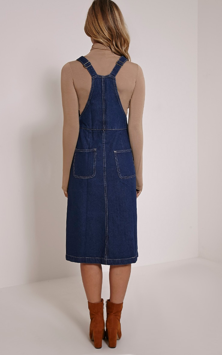 Dolly Indigo Denim Button Front Pinafore Dress 2
