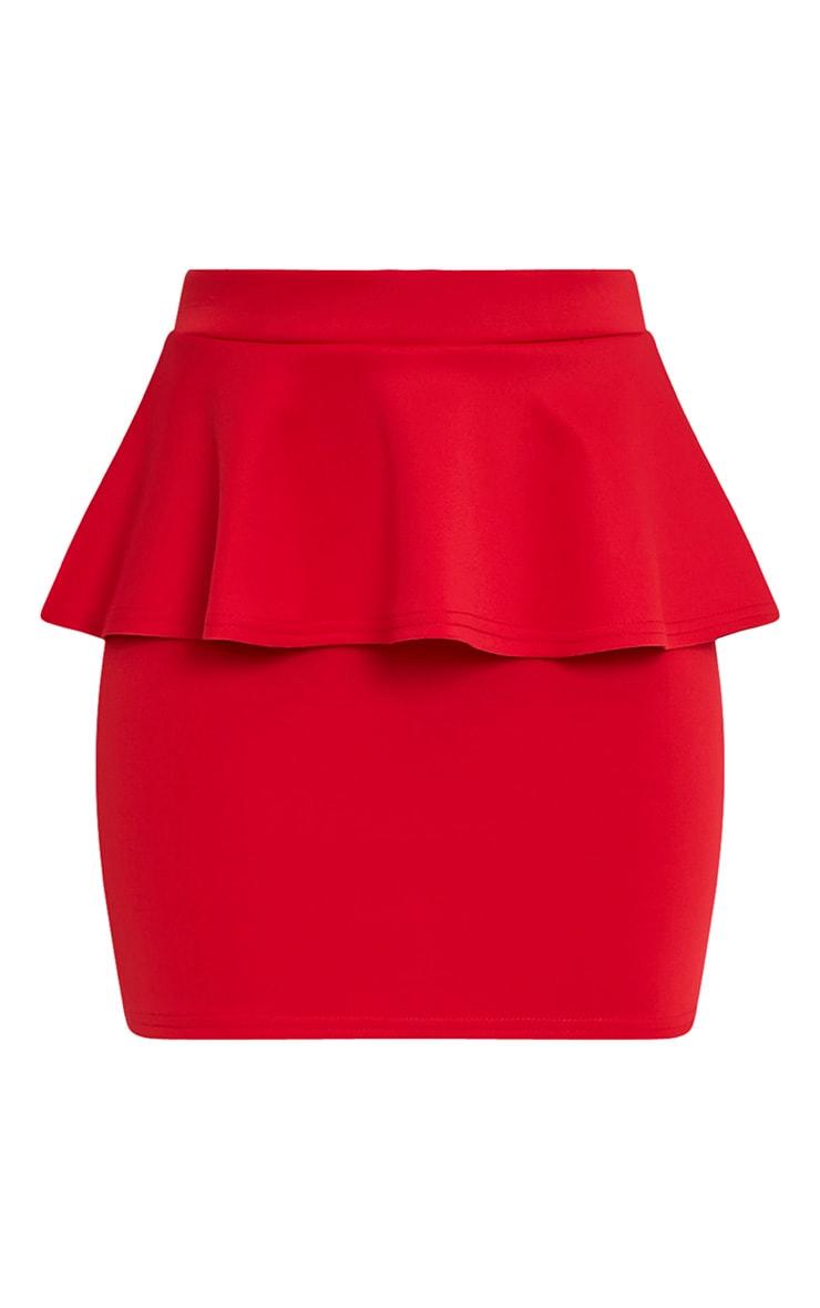Mariela Red Peplum Scuba Mini Skirt 3