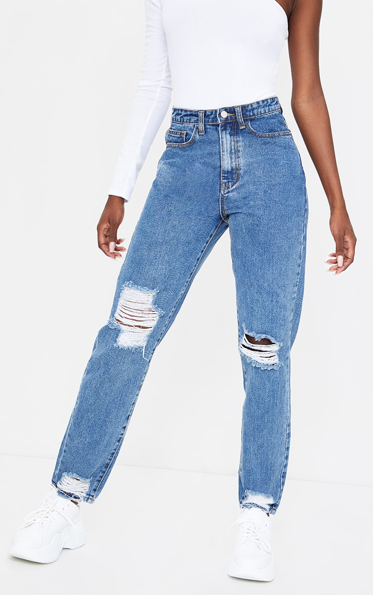 PRETTYLITTLETHING Tall Mid Blue Wash Extreme Distressed Hem Knee Rip Mom Jeans 2
