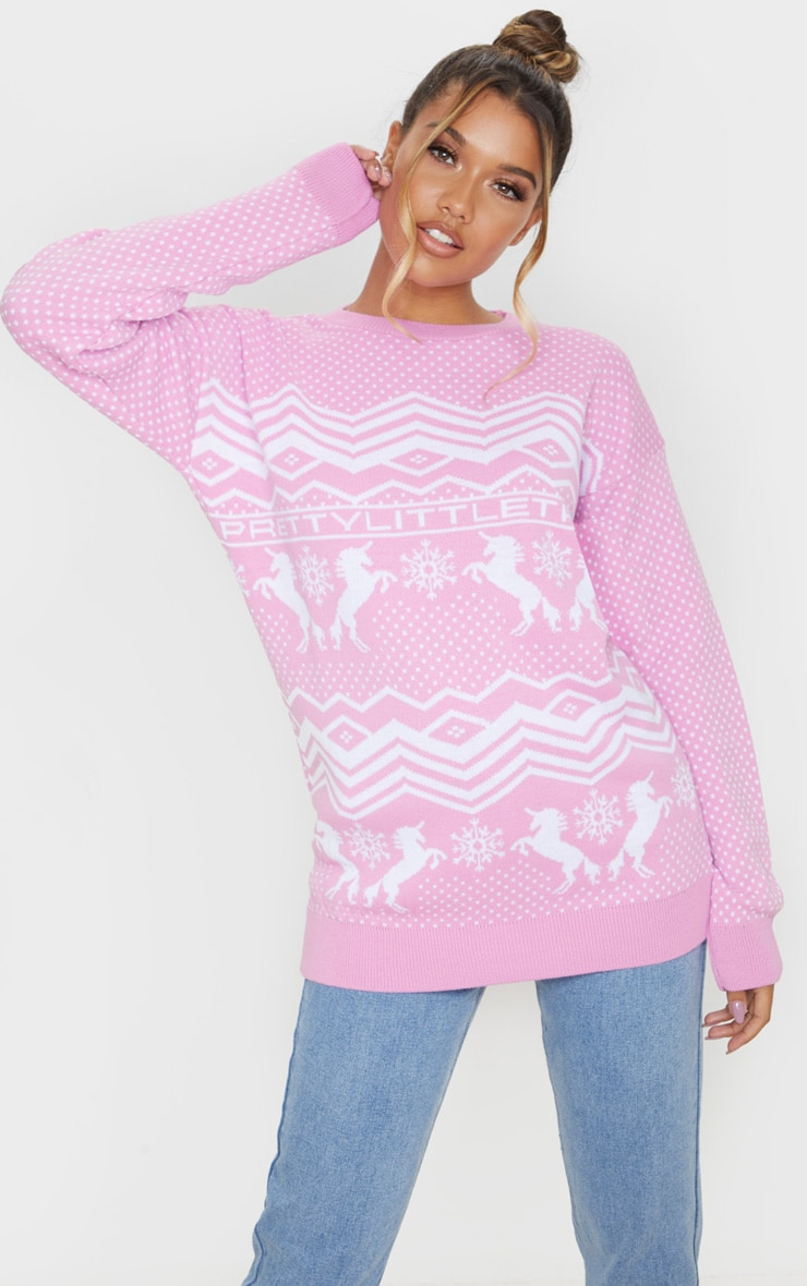 PRETTYLITTLETHING Pink Christmas Unicorn Print Jumper 1