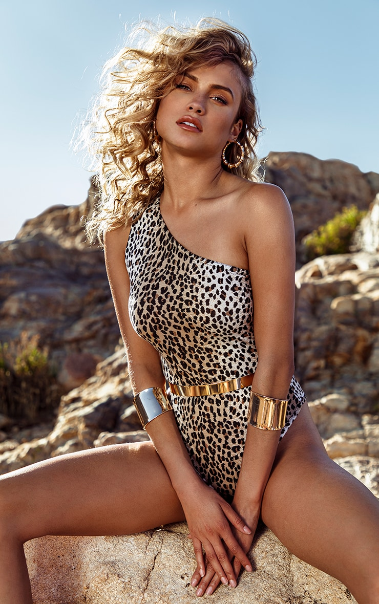 Tan Leopard Printed One Shoulder Bodysuit 1