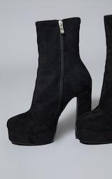 Black Faux Suede High Platform Ankle Boot 4