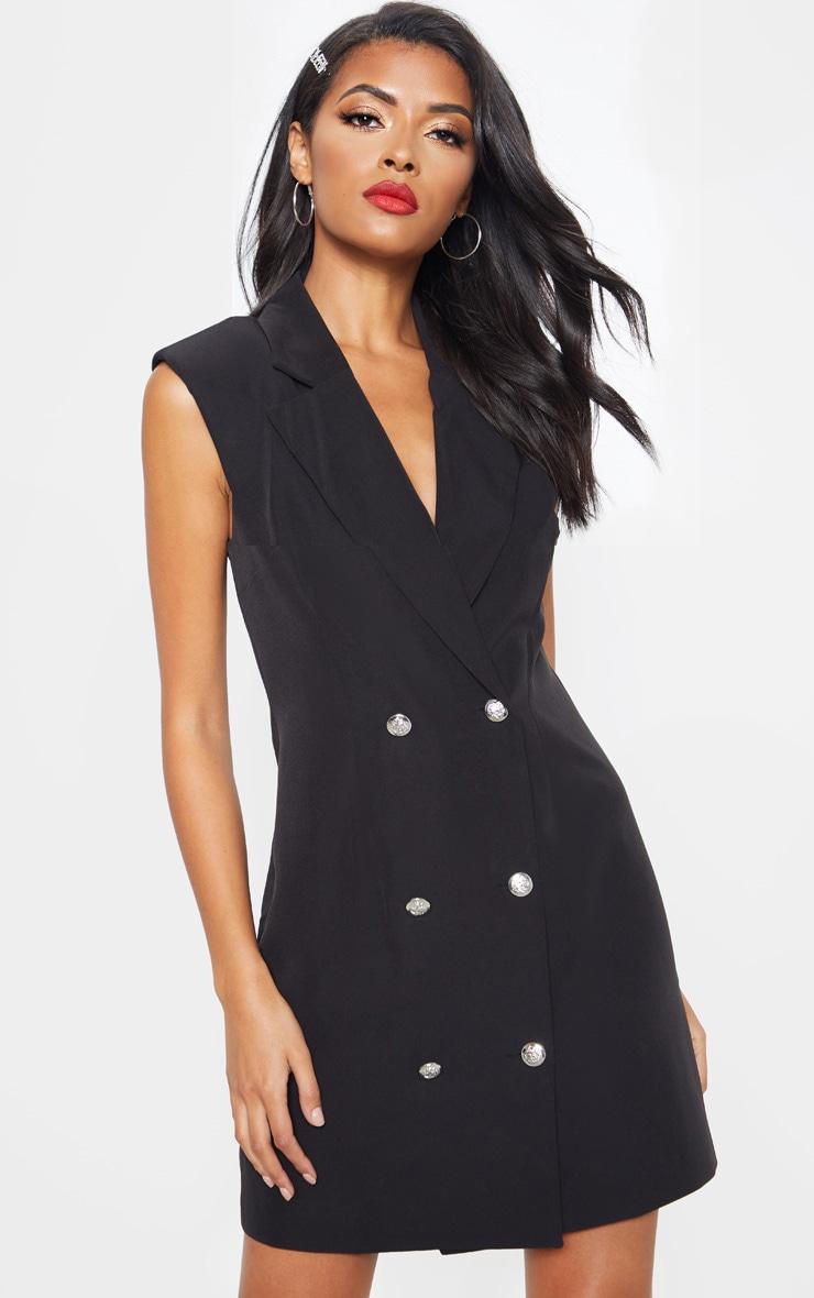 Black Sleeveless Button Detail Bodycon Dress 1