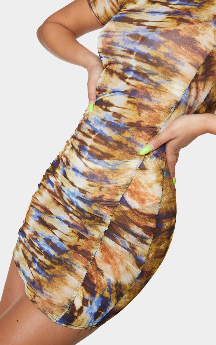 Multi Tie Dye Mesh Short Sleeve Ruched Bodycon Dress 4