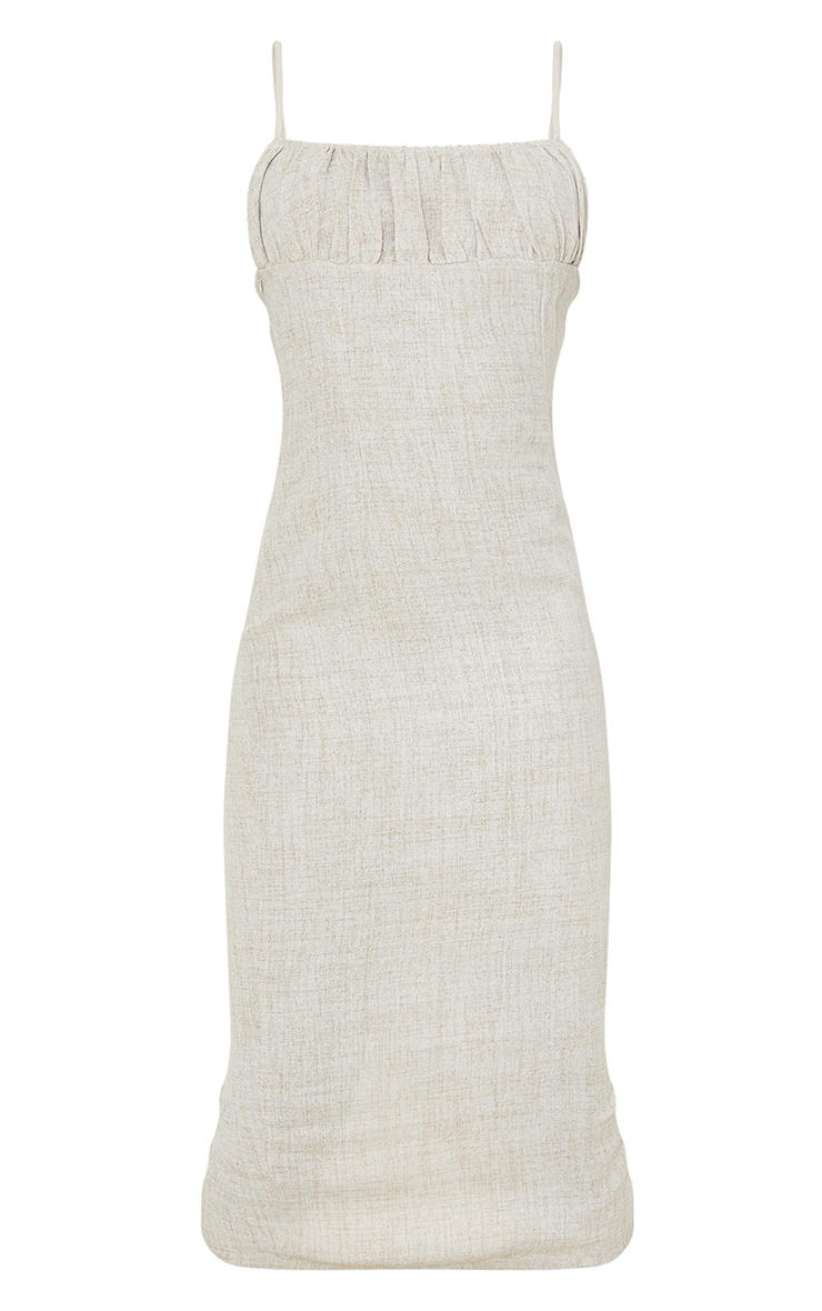 Tall Stone Woven Ruched Bust Detail Strappy Midi Dress 5