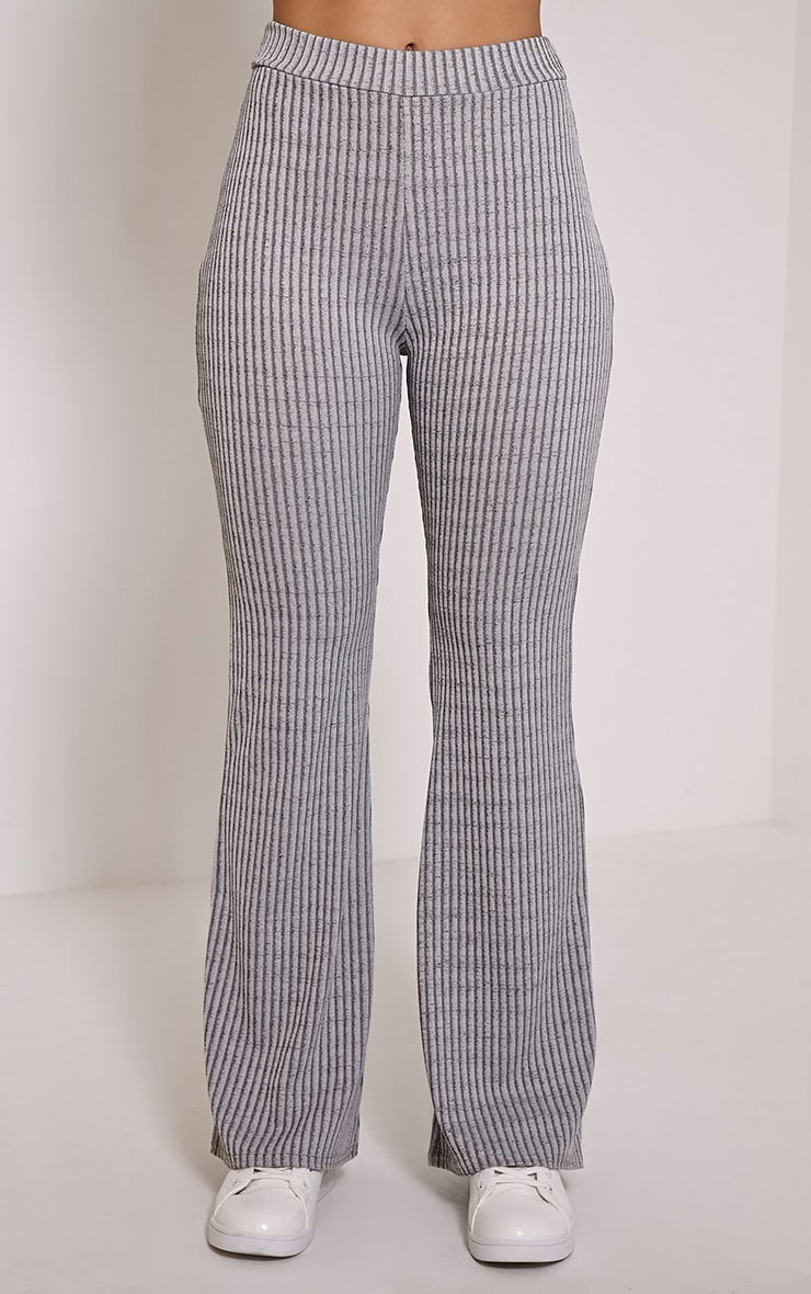 Anna Grey Ribbed Flared Trousers 2