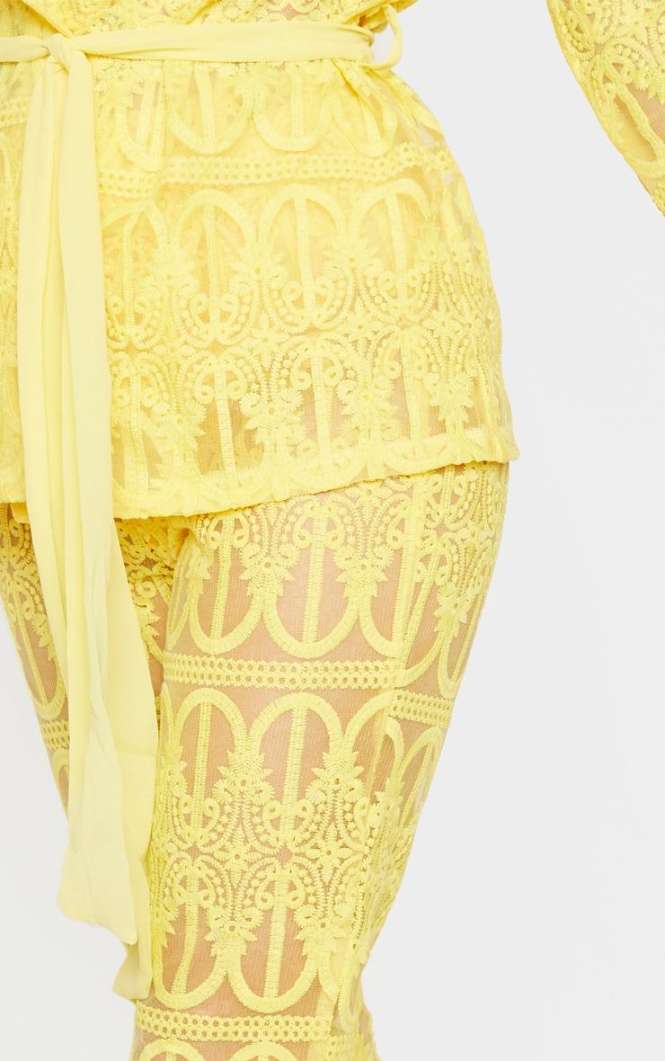 Bright Yellow Sheer Insert Wide Leg Pants 5