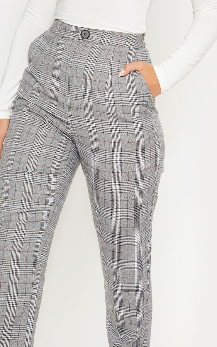 Grey Check Slim Leg Pants 5