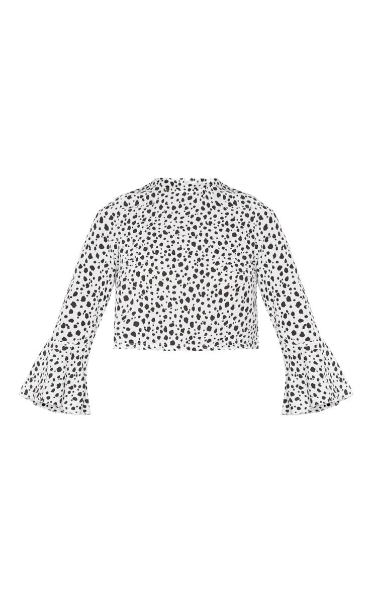 Petite White Dalmatian Cropped Blouse 3