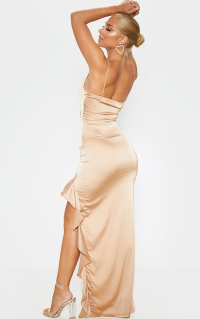 Gold Cowl Neck Frill Hem Maxi Dress