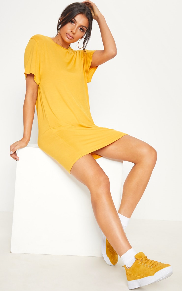 Basic Pale Mustard Short Sleeve T Shirt Dress
