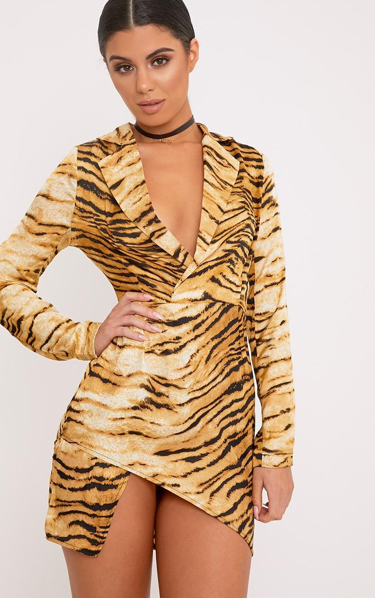 Harriett Animal Print Camel Wrap Shirt Dress 1