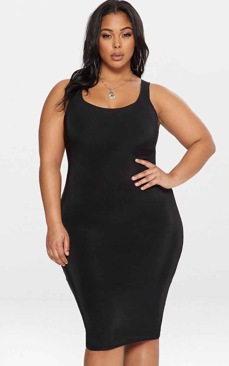 Plus Black Second Skin Slinky Scoop Neck Midi Dress 1