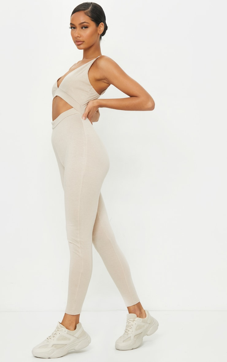 Taupe Strappy Plunge Cut Out Jumpsuit 1