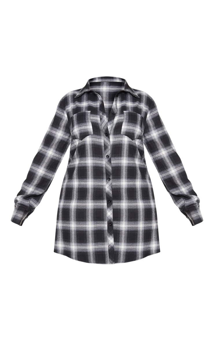 Plus Black Checked Oversized Shirt Dress 5