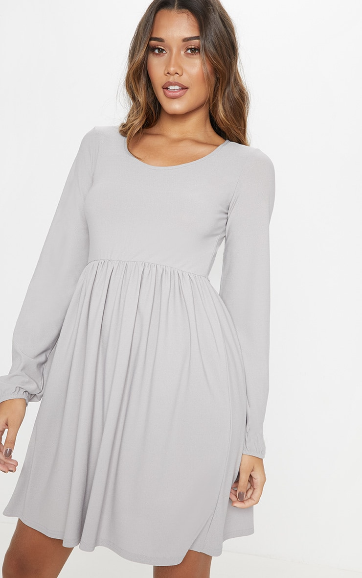 Grey Jersey Long Sleeve Scoop Neck Smock Dress 5