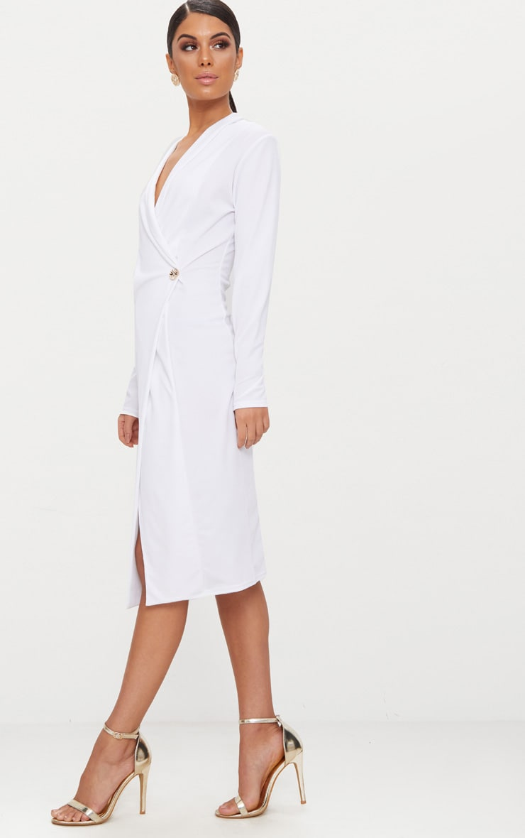White Button Detail Blazer Midi Dress 4