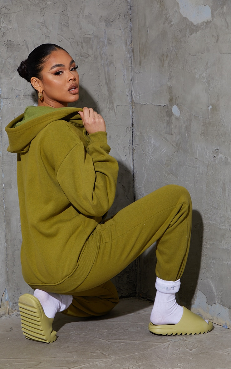Olive Green Extreme Oversized Pocket Front Zip Through Hoodie 2