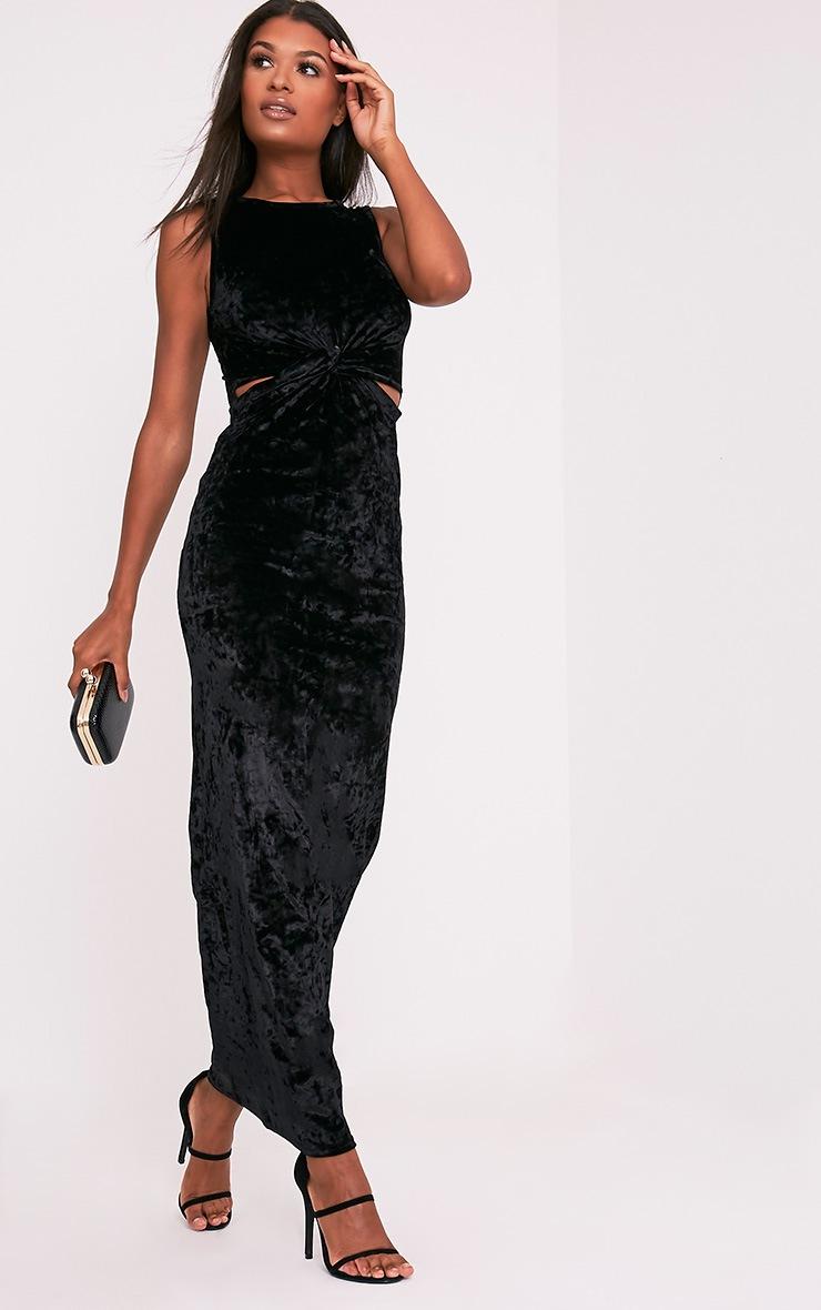 Jaydiah Black Crushed Velvet Cut Out Maxi Dress 1