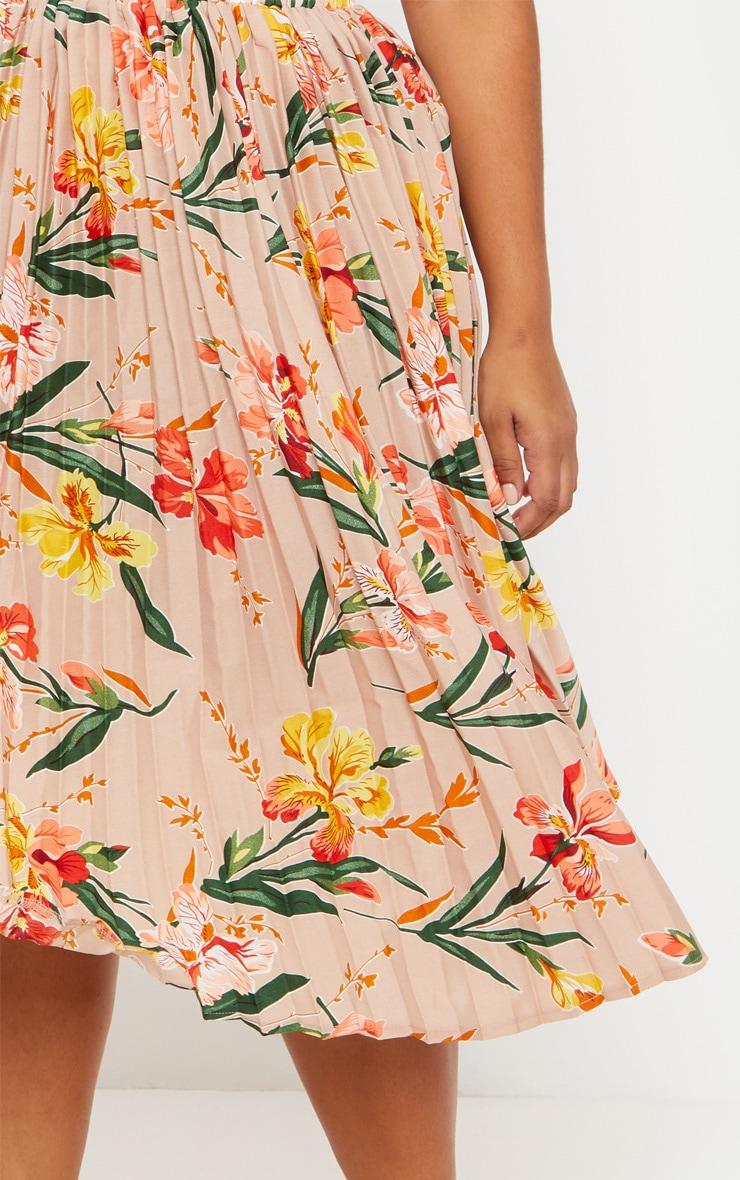 Plus Pink Pleated Midi Skirt 5