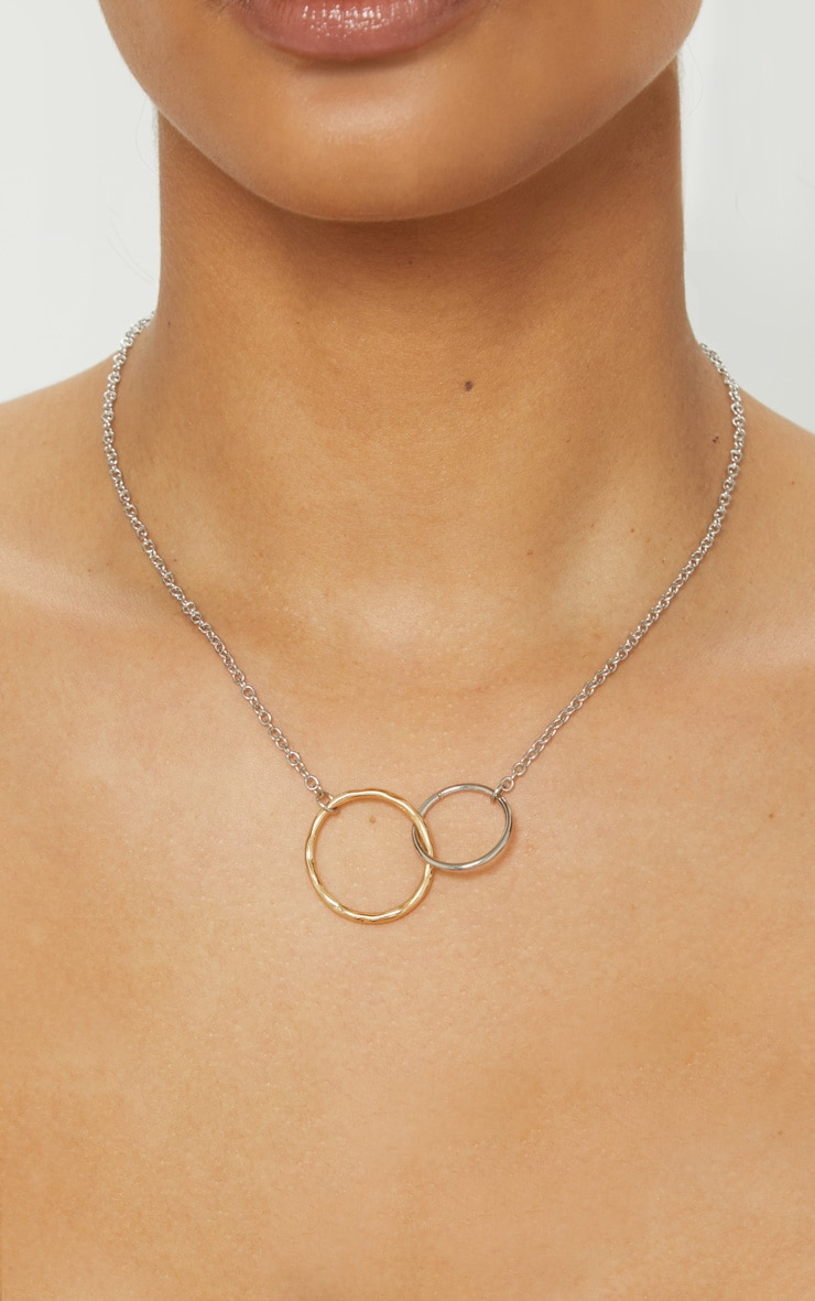 Gold And Silver Double Circle Necklace 1