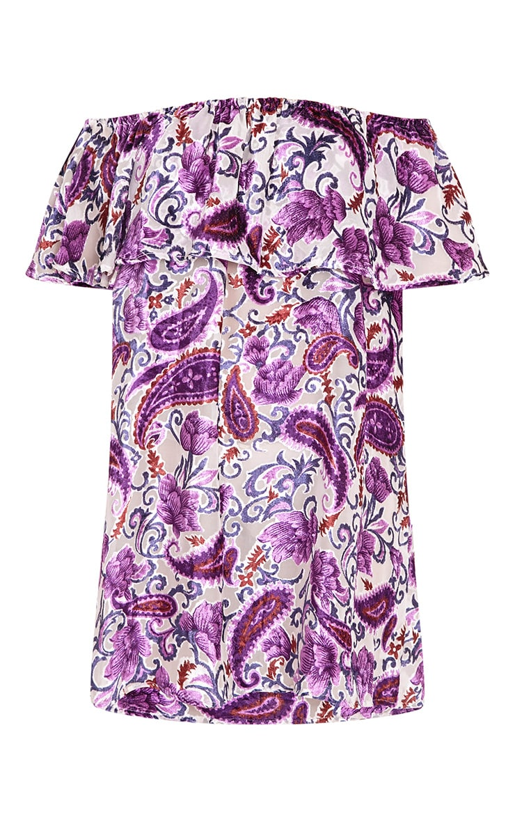 Lenayaa Printed Devoree Bardot Shift Dress Purple 3