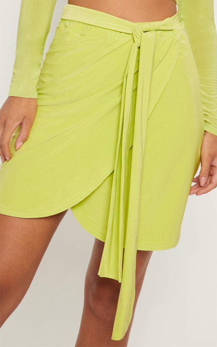 Lime Slinky Tie Waist Wrap Skirt 6