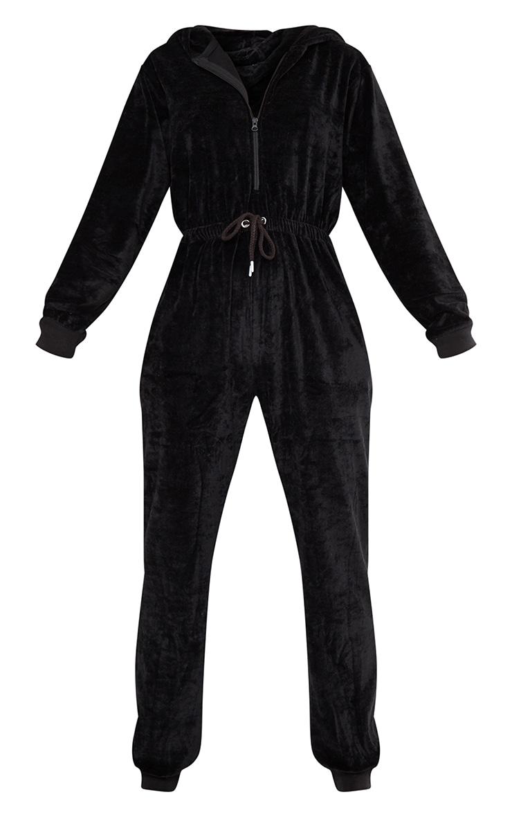 PRETTYLITTLETHING Black Diamante Velour Jumpsuit 5
