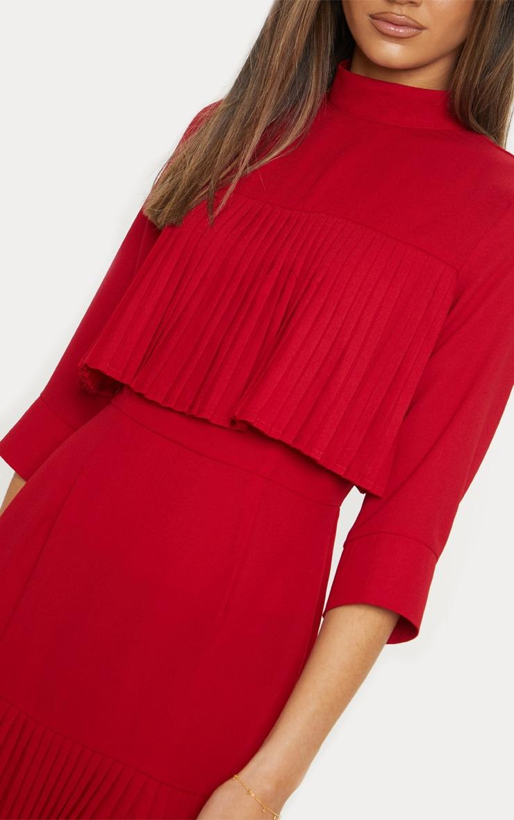 Red Pleated Detail Frill Hem Bodycon Dress 5