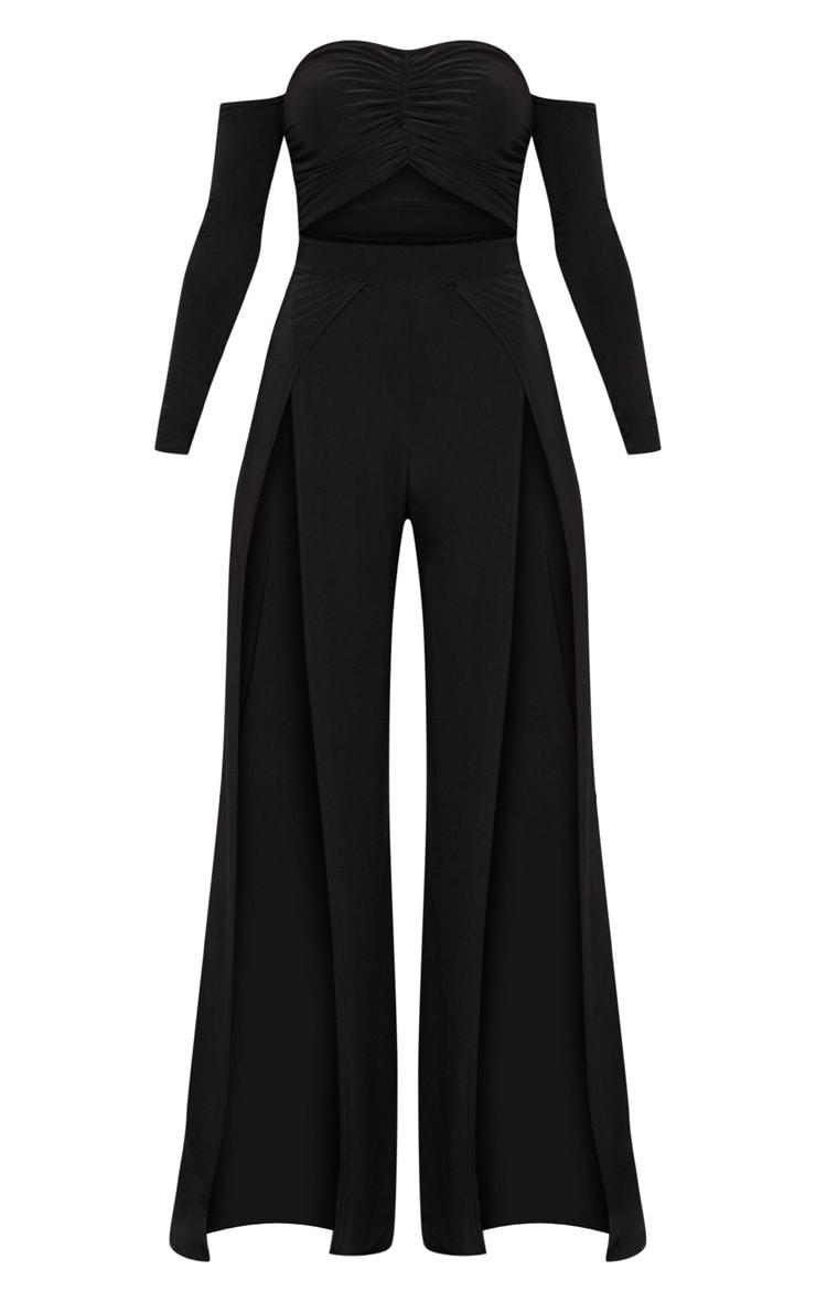 Black Slinky Ruched Front Split Leg Jumpsuit 3