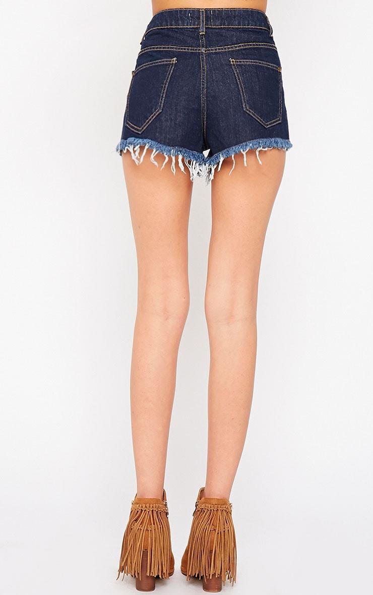 Nilah Indigo Extreme Rip Denim Shorts 4