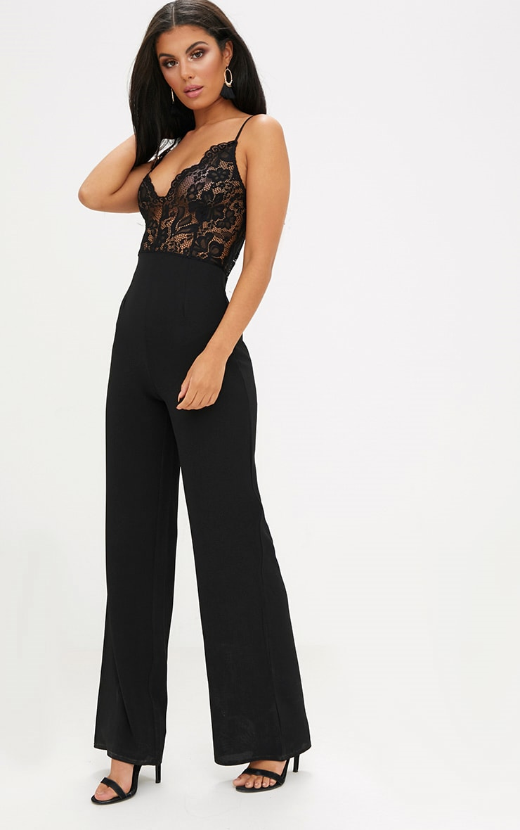 Black Lace Wide Leg Jumpsuit 4