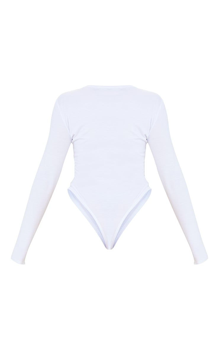 PRETTYLITTLETHING Petite White Long Sleeve Bodysuit 6