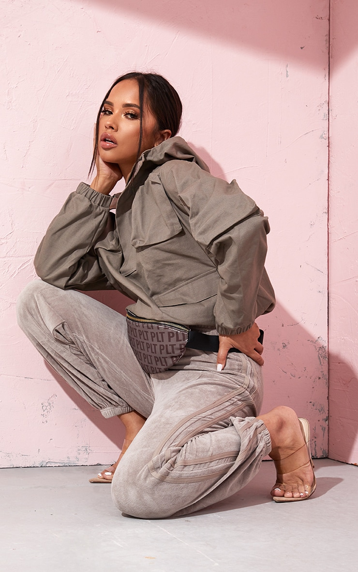 Taupe Pocket Front Cargo Hoodie 1