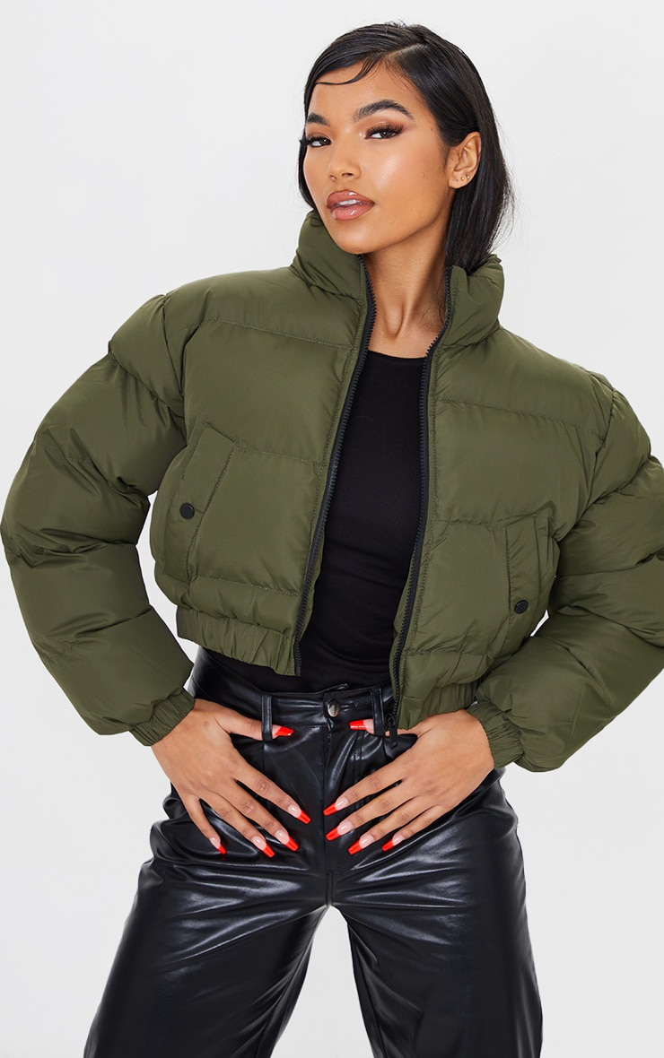 Khaki Cropped Bubble Zip Detail Puffer Jacket 1