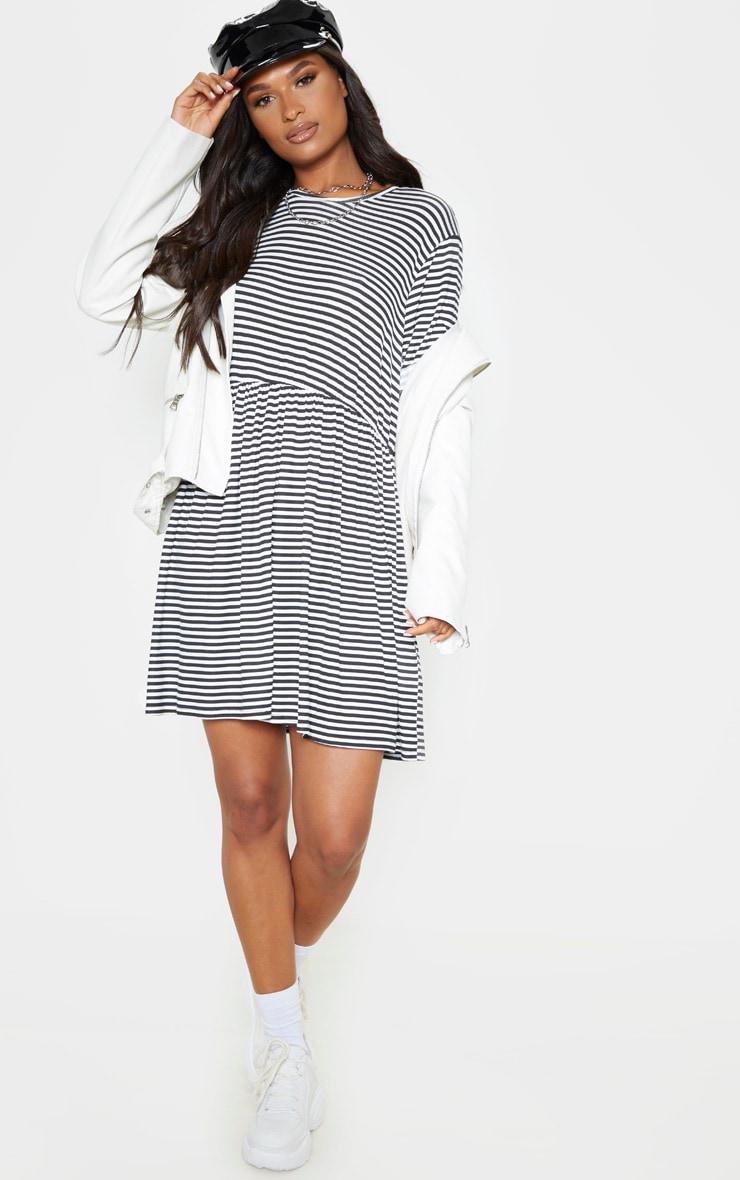 Cream Contrast Stripe Roll Sleeve Smock Dress 1