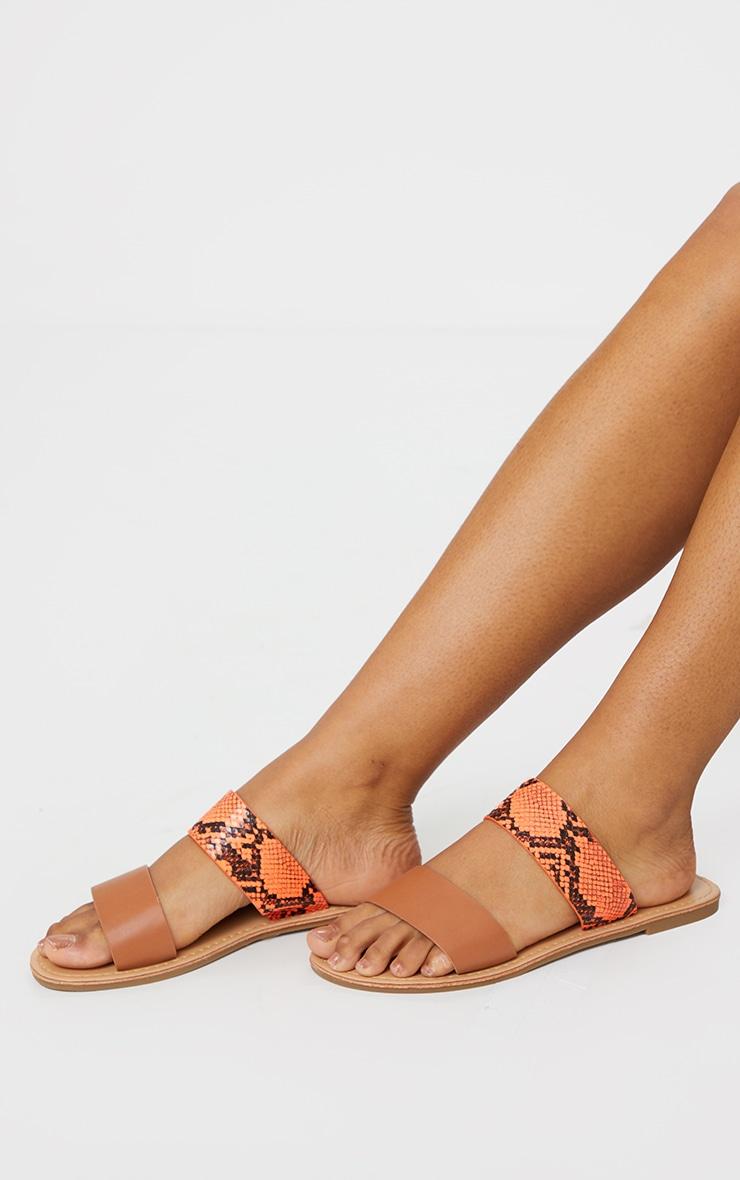 Orange PU Double Strap Contrast Snake Flat Mule Sandals 1
