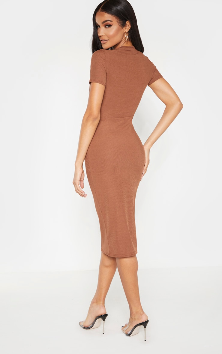 Chocolate Ribbed Crew Neck Midi Dress 2